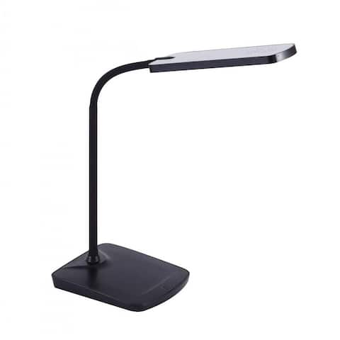 Black Adjustable Silicone Neck Dimmable LED Desk Lamp w/ USB Charging Port, Touch-Sensitive
