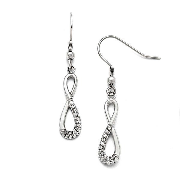 Chisel Stainless Steel Infinity Symbol with CZs Shepherd Hook Earrings