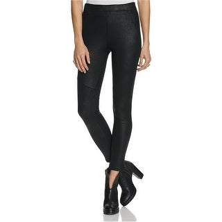 Free People NEW Jet Black Womens Size 10 Faux-Leather Seamed Pants