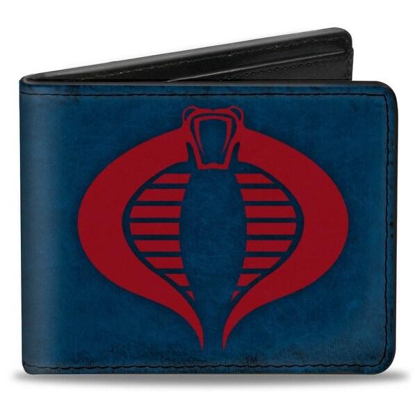 Gi Joe Cobra Logo + Cobra Commander Navy Red Bi Fold Wallet - One Size Fits most