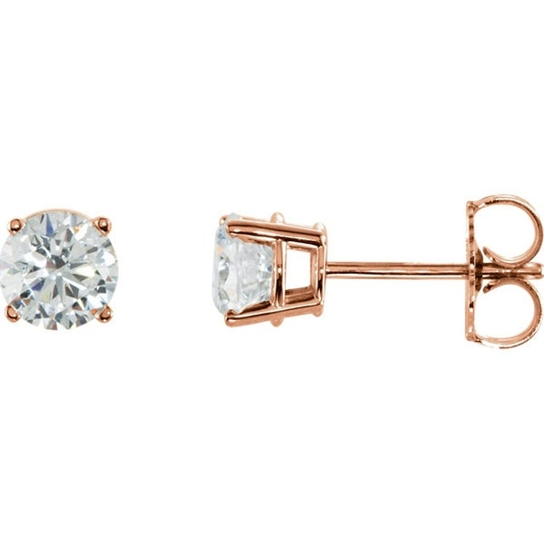 14k Rose Gold 1 3 Ctw Round Cut Diamond Stud Earrings