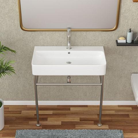 Lordear Modern Ceramic Console Sink White Basin Gold/Black/Silver Legs