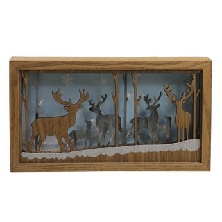 """10.5"""" Lighted Wooden Reindeer Shadow Box Christmas Decoration - brown"""