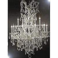 Maria Theresa Swarovski Crystal Trimmed Chandelier Lighting Chandeliers - Silver