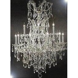 Maria Theresa Swarovski Crystal Trimmed Chandelier Lighting Chandeliers - Silver