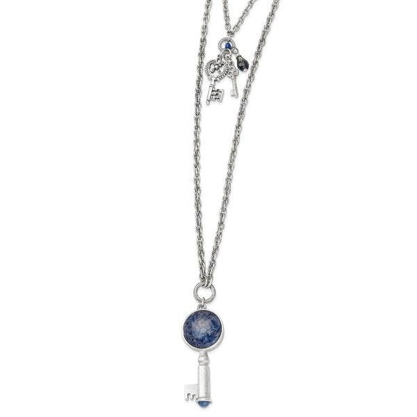 Silvertone Sodalite & Blue Crystal Key Pendants Necklace - 26in