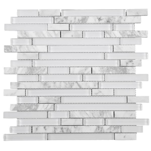 TileGen. Random Sized Brick Marble Mix Glass Mosaic Tile in White Wall Tile (10 sheets/9.6sqft.)