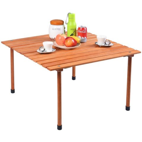 Gymax Folding Wood Roll Up Table Camping Picnic Outdoor