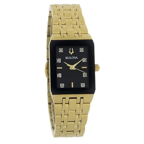 Bulova Women's 97P135 'Diamond' Gold-Tone Stainless Steel Watch - Black