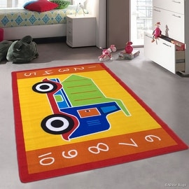"""Allstar Kids / Baby Room Area Rug. Big Green Truck. Bright Yellow Colorful Vibrant Colors (4' 11"""" x 6' 11"""")"""