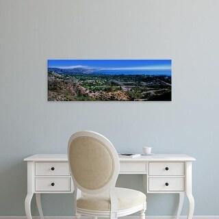 Easy Art Prints Panoramic Images's 'Elevated view of city at coast, Santa Barbara, California, USA' Premium Canvas Art