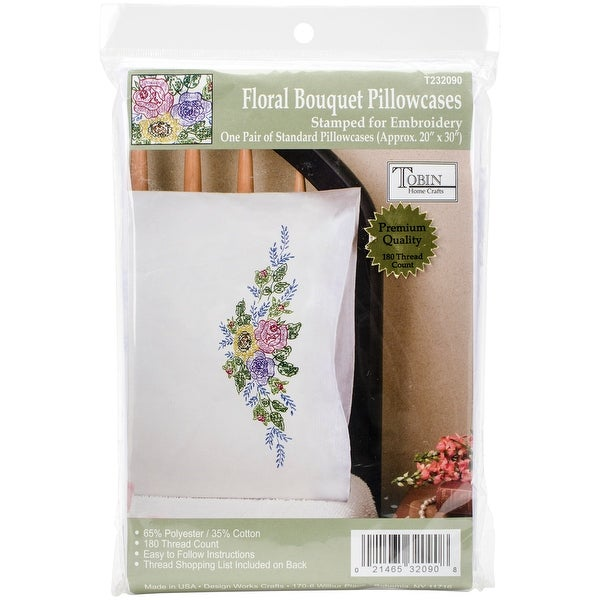 "Stamped Pillowcase Pair For Embroidery 20""X30""-Floral Bouquet"