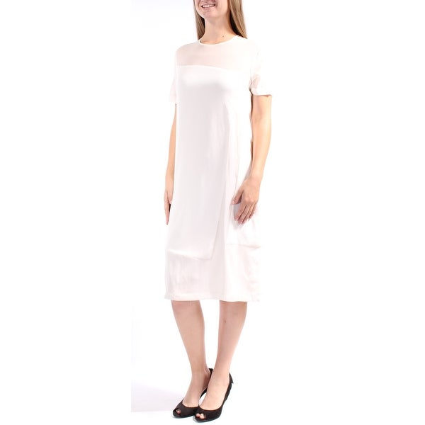 72a7569c7a5f Shop Womens Ivory Short Sleeve Below The Knee Shift Dress Size  S - Free  Shipping Today - Overstock - 21307451
