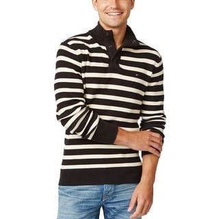 Tommy Hilfiger Striped Mock Neck Sweater Black and Ivory Small S
