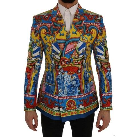 Dolce & Gabbana Dolce & Gabbana Multicolor Dragon Print Silk Slim Fit Blazer Jacket