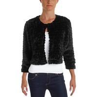 Calvin Klein Womens Petites Shrug Faux Fur Long Sleeves