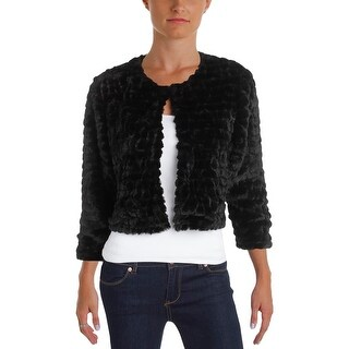 Calvin Klein Womens Petites Shrug Faux Fur Long Sleeves