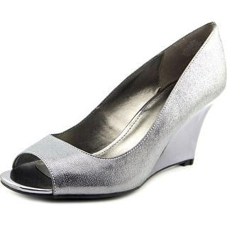 Bandolino Jamila Women  Open Toe Canvas Silver Wedge Heel