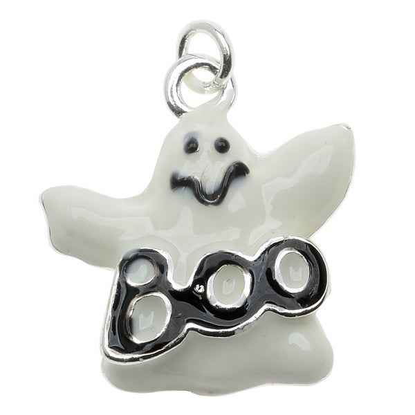 Silver Plated and Enameled Charm, Ghost w/Boo 19x17.5x4mm, 1 Piece, White/Black