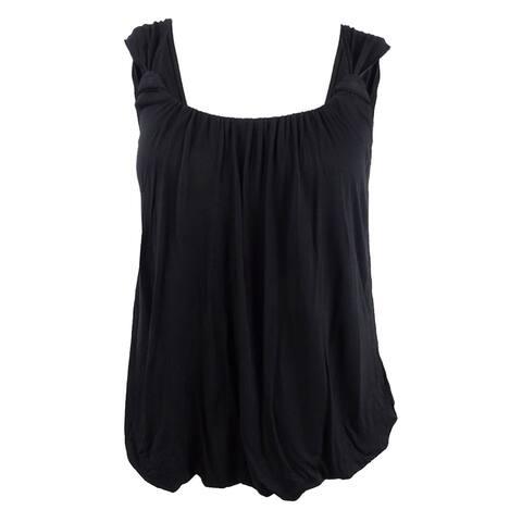 City Chic Women's Plus Size Twist-Strap Blouson Top (XS/14W, Black) - Black - XS/14W
