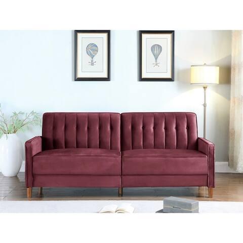 US Pride Strip Convertible Velvet Sofa Bed