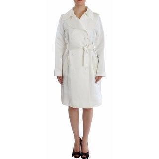 Dolce & Gabbana White Shiny Acetate Trench Coat Jacket - it42-m