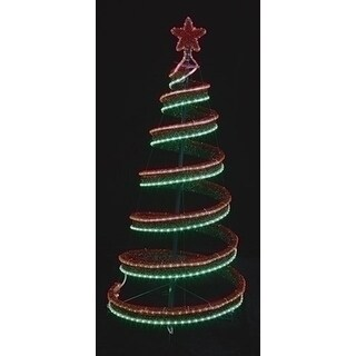 Shop 4 Led Green And Red Spiral Ribbon Christmas Tree