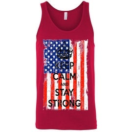 Men's Tank Top USA Flag Keep Calm & Stay Strong Red White Blue Gym Patriotic