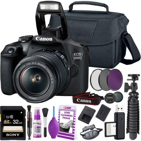 Canon EOS 2000D/Rebel T7 DSLR Camera + 18-55mm III Lens Starter Bundle