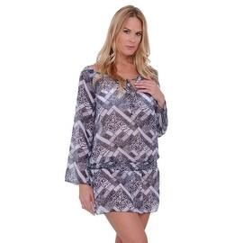 Women's Beach Dress Cover Up Chiffon Long Sleeve Printed Swimwear