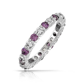 Bling Jewelry Clear And Purple CZ Eternity Ring 925 Silver