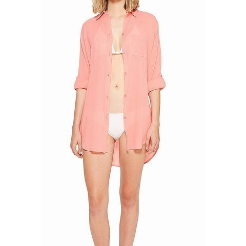 Kenneth Cole Womens Swimwear Pink Size XL Cover Up Collared Shirt Dress