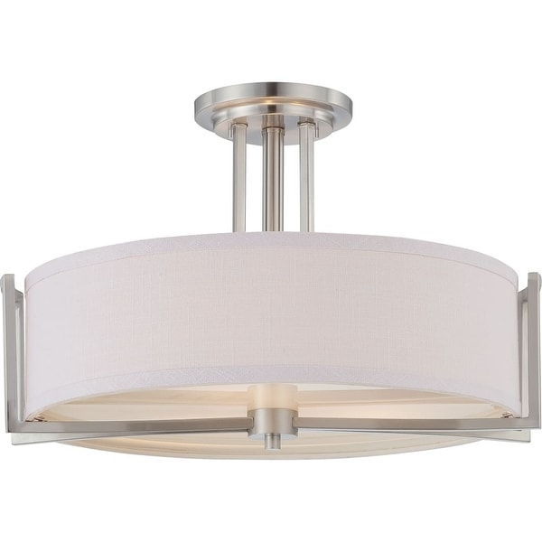 "Nuvo Lighting 60/4758 Gemini 3-Light 18-3/8"" Wide Semi-Flush Drum Ceiling Fixture - Brushed nickel"
