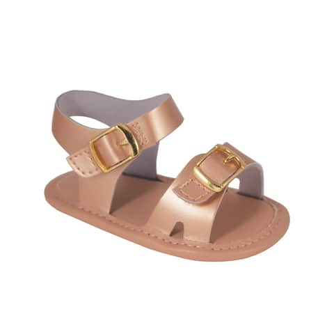Baby Deer Girls Rose Gold Leather Double Strap Hook Buckle Sandals