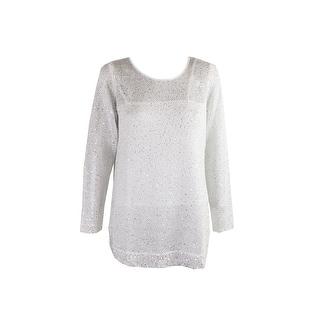Alfani Cloud Long-Sleeve Shirt-Tail-Hem Sequined Sweater M