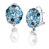 Freshwater Pearl & 5 1/8 Natural Blue & White Topaz Drop Earrings in Sterling Silver