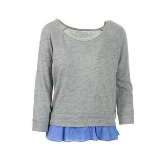 VELVET BY GRAHAM & SPENCER Womens Sweatshirt French Terry Contrast Trim