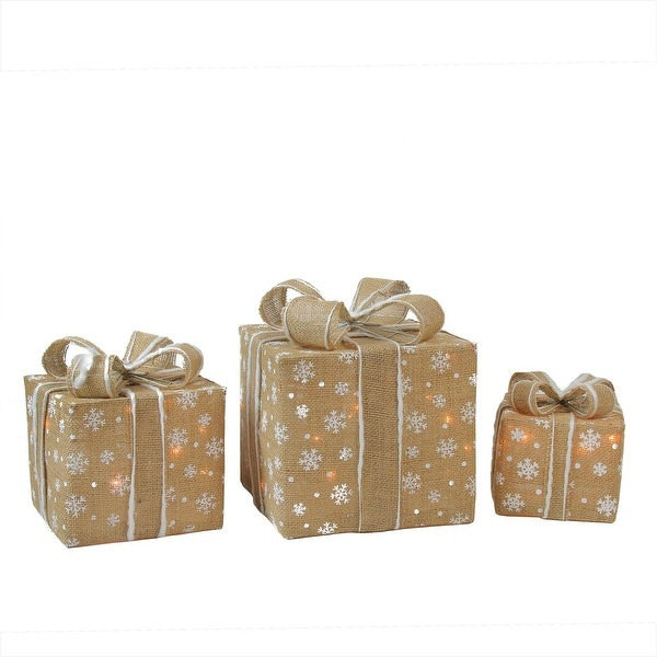 Set of 3 Lighted Natural Snowflake Burlap Gift Boxes Christmas Outdoor Decorations