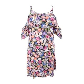 Link to Lucky Brand Women's Floral-Print Cold-Shoulder Dress Swim Cover-Up - Multi Similar Items in Swimwear