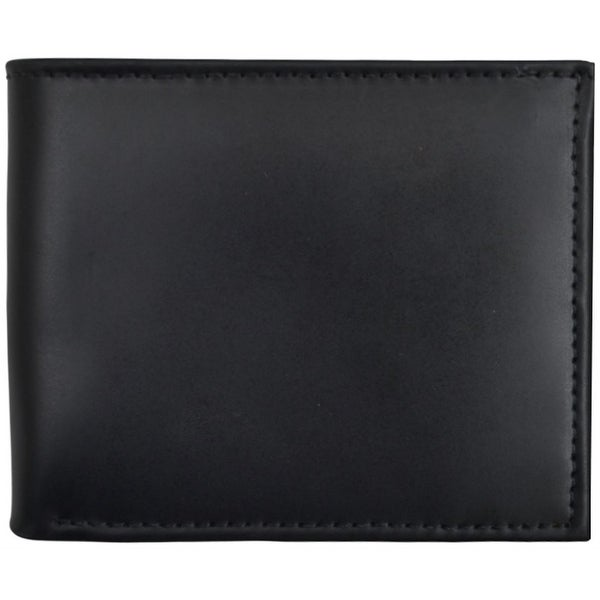 3D Wallet Mens Bifold Waxy Leather ID Window Black - One size