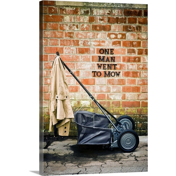 """Hand-push mower in country garden"" Canvas Wall Art"