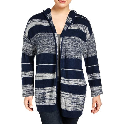 NYDJ Womens Cardigan Sweater Hooded Striped - XL