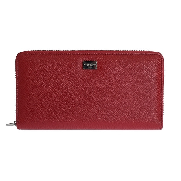 Dolce & Gabbana Dolce & Gabbana Red Leather Dauphine Continental Wallet - One size