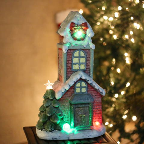 Alpine Corporation Miniature Christmas Townhouse Statuary with LED Lights