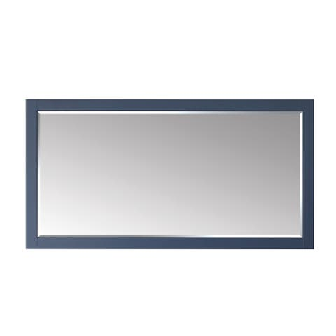 Florence 72 Inch Rectangular Bathroom Vanity Framed Wall Mirror In Blue - 72 inches