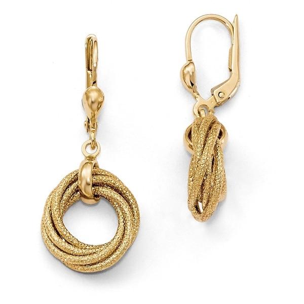 14k Gold Multi Circle Lever Back Earrings