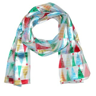 CTM® Women's Christmas Holiday Multi-Color Tree Print Lightweight Scarf - One size