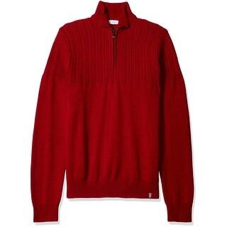 Calvin Klein NEW Solid Mania Red Mens Size Medium M 1/2 Zip Sweater