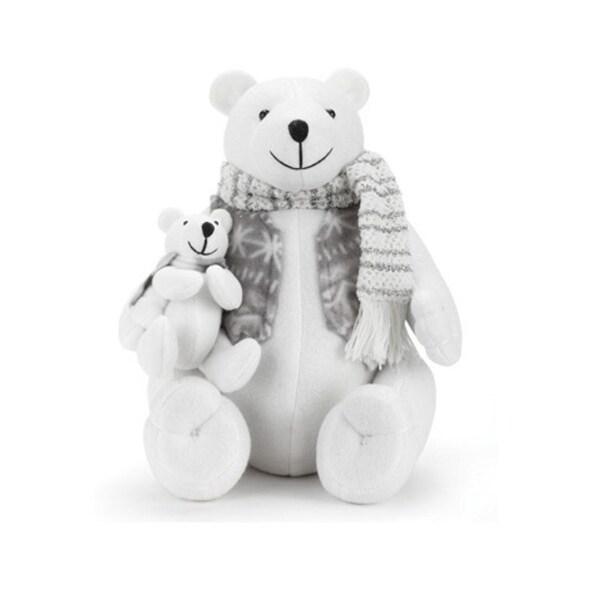 "11.5"" White Plush Sitting Polar Bear with Baby Bear Christmas Table Top Decoration"