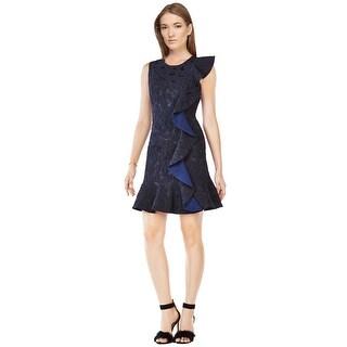 BCBG Maxazria Dede Jacquard Ruffled Sleeveless Cocktail Dress - 4